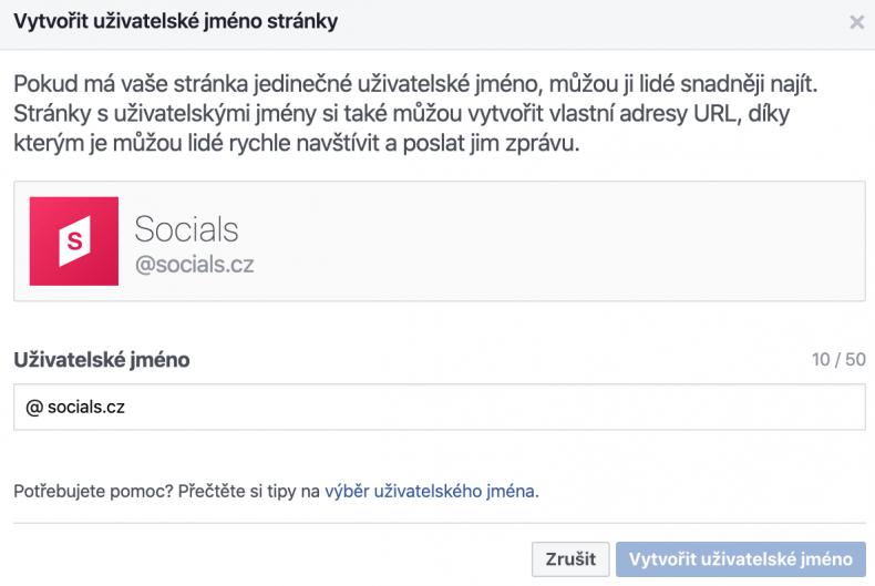 firemní stránka na facebooku uživatelské jméno