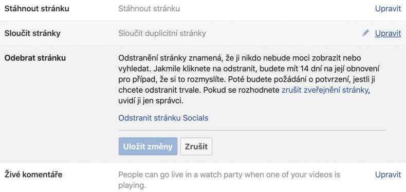 firemní stránka na facebooku odstranění